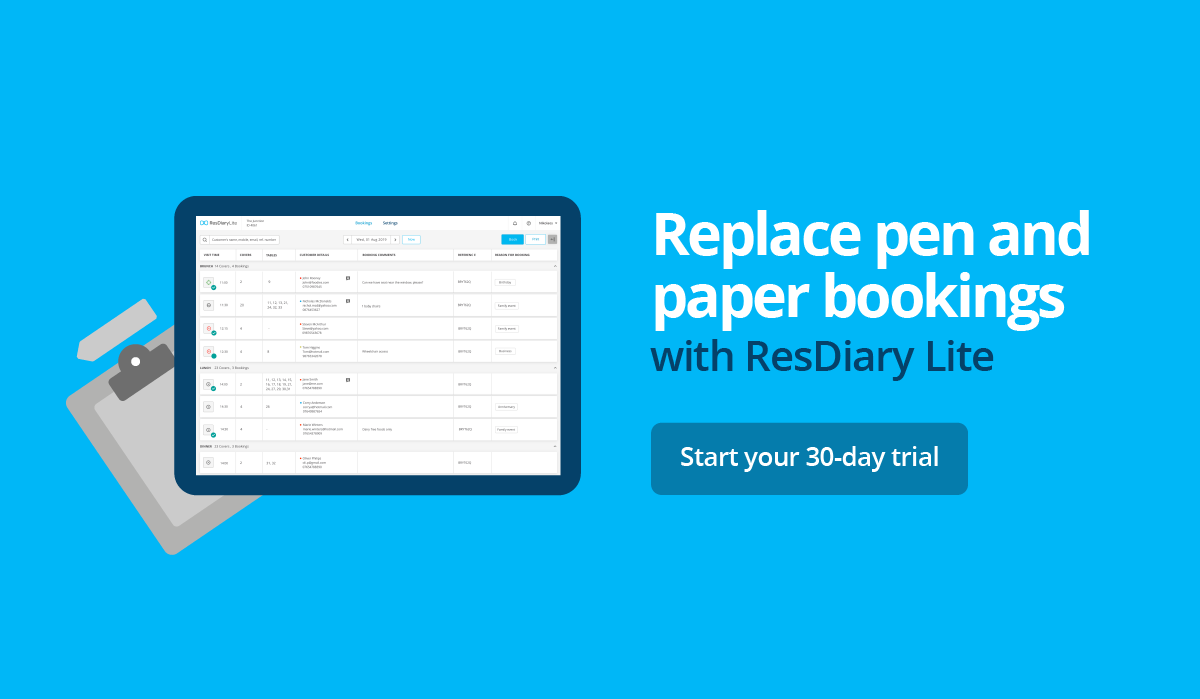 Manage all your bookings in one place with ResDiary Lite
