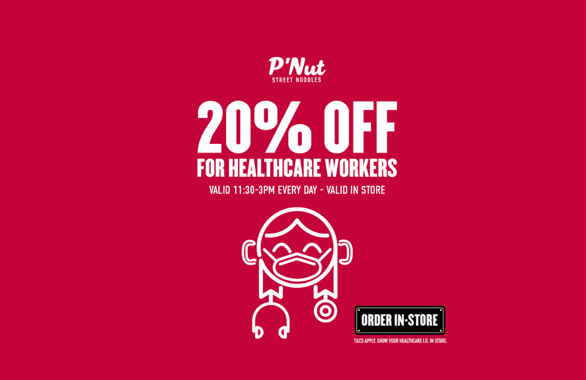 20% off @ P'Nut for healthcare workers